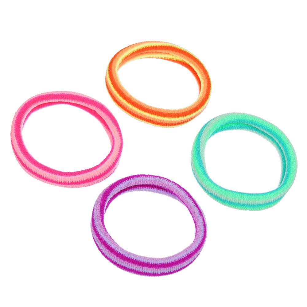 Набор резинок для волос 4шт., полиэстер, 5,5 см, разноцветные