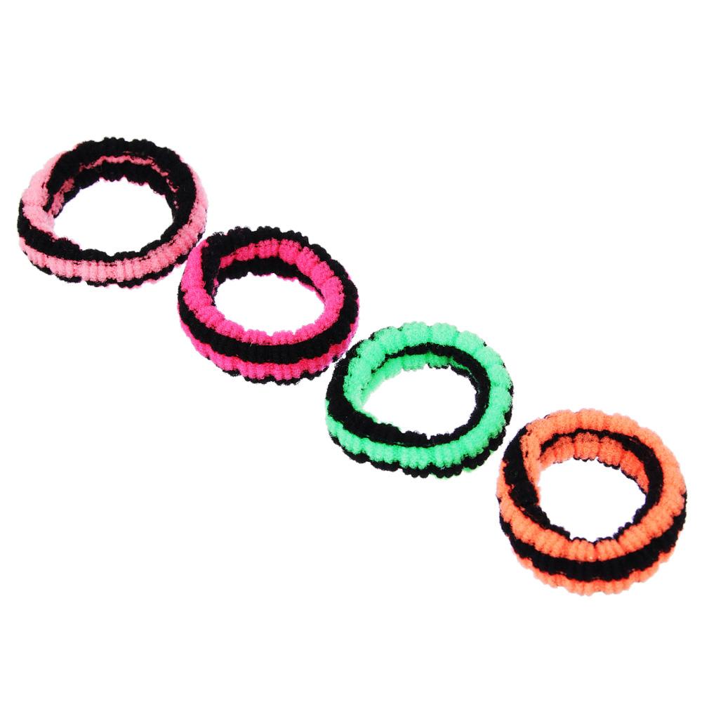 Набор резинок для волос 4шт., полиэстер, 3 см, разноцветные, рельеф