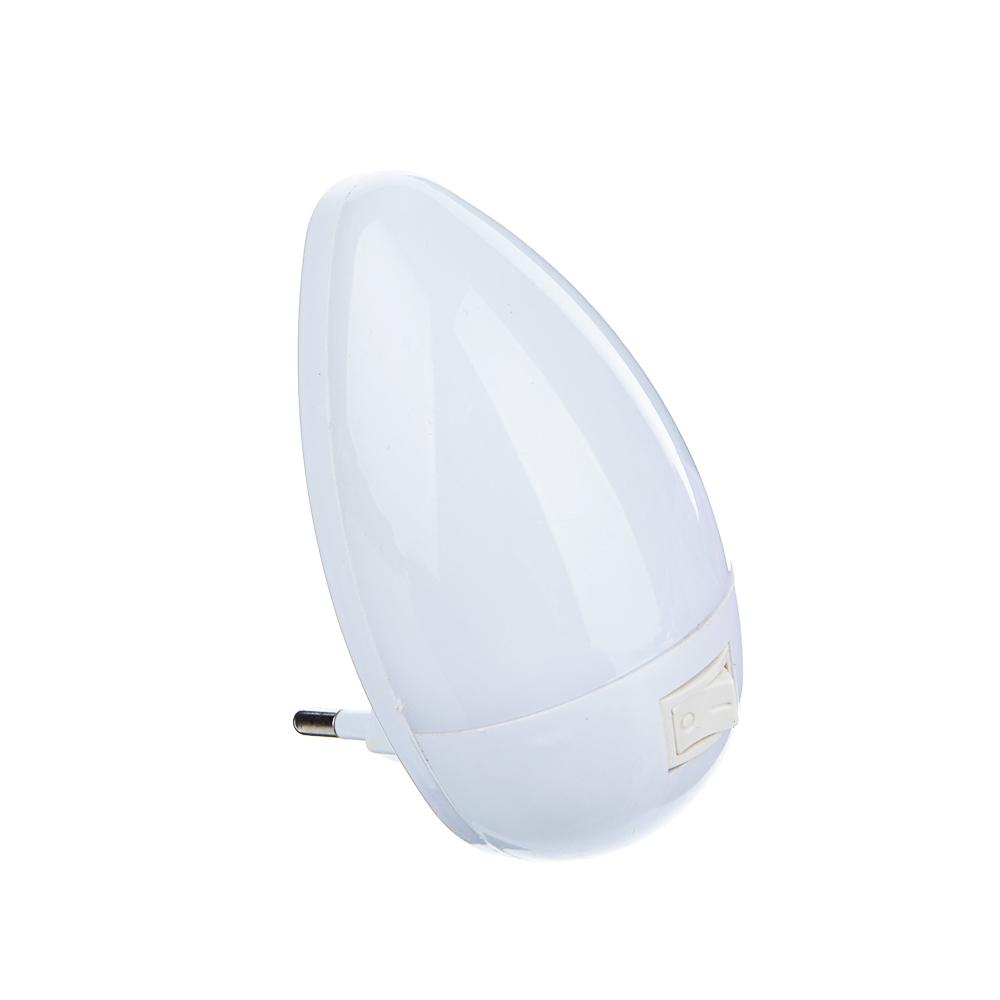 """Светильник-ночник 3 LED в розетку с выключателем, 5х9х6,5 см, 220В, 0,1 Вт, """"Капля"""""""