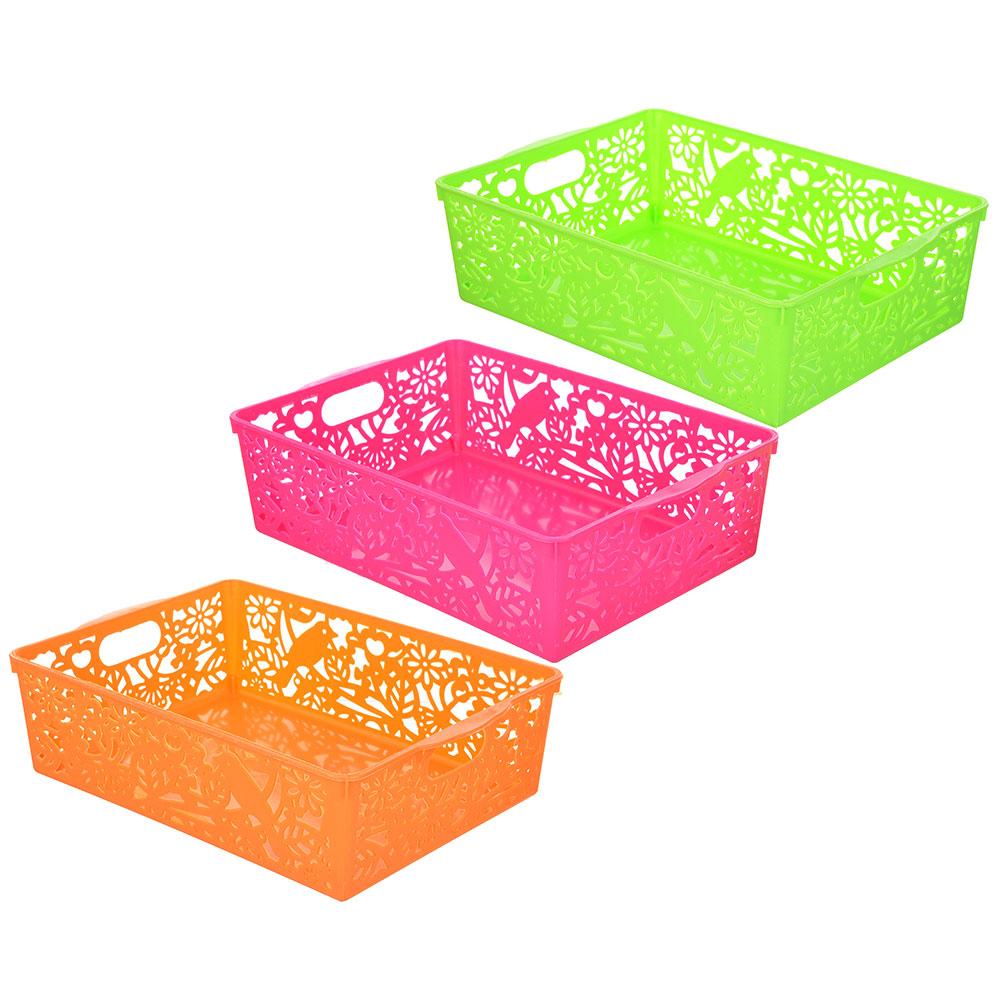Корзина для хранения мелочей, пластик, 27х19,5х8 см, 3 цвета