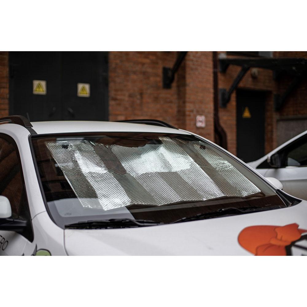 NG Шторка солнцезащитная на лобовое стекло, 145x70см, серебристая, 110035S