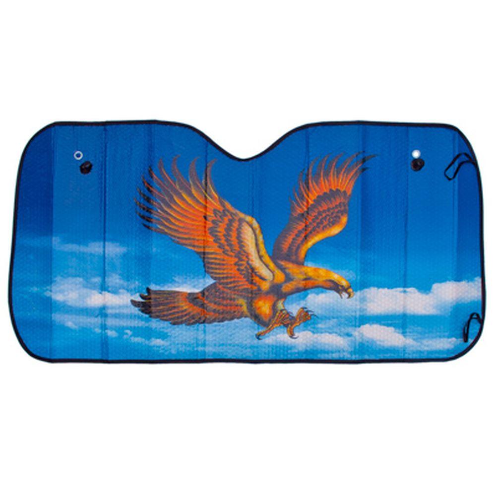 "NEW GALAXY Шторка солнцезащитная на лобовое стекло, 130x60см, ""Орел"", 110051"