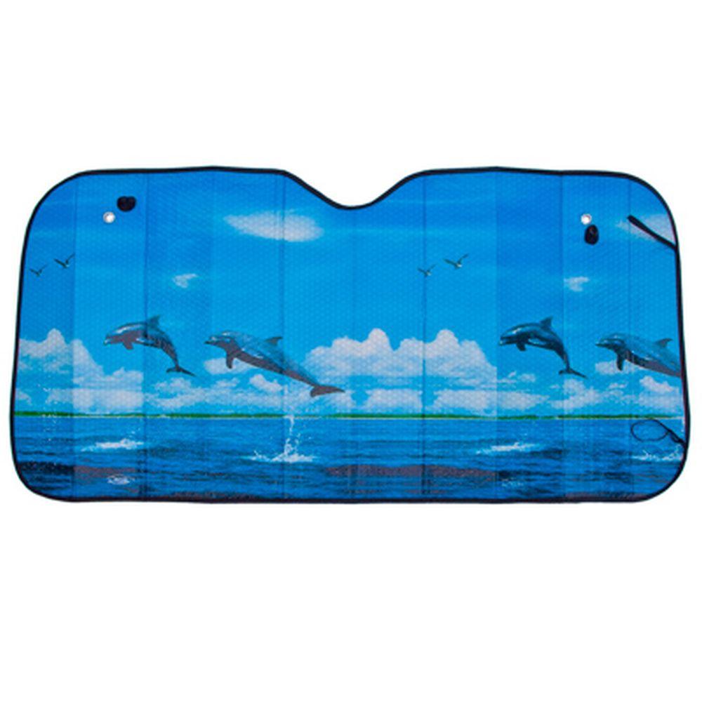"""NEW GALAXY Шторка солнцезащитная на лобовое стекло, 130х60см, """"Дельфины"""", 110044"""