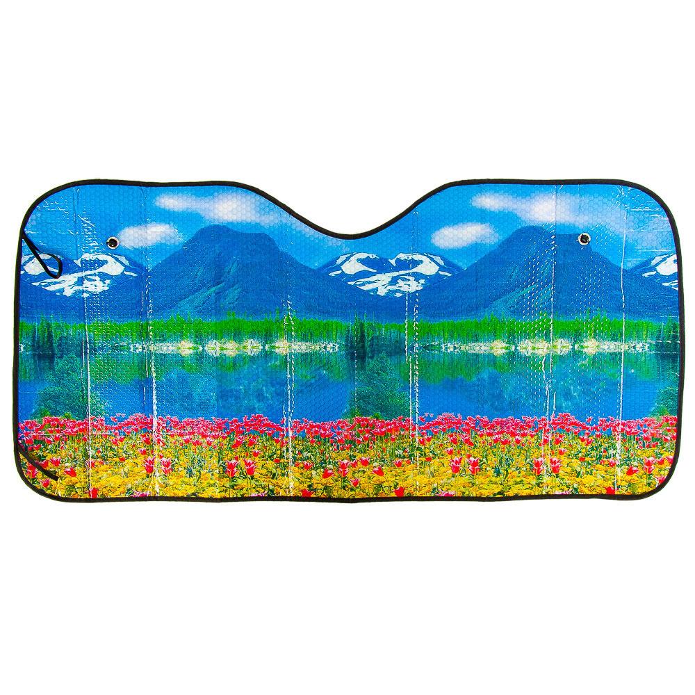 """NEW GALAXY Шторка солнцезащитная на лобовое стекло, 130х60см, """"Снежные горы"""", 124054"""