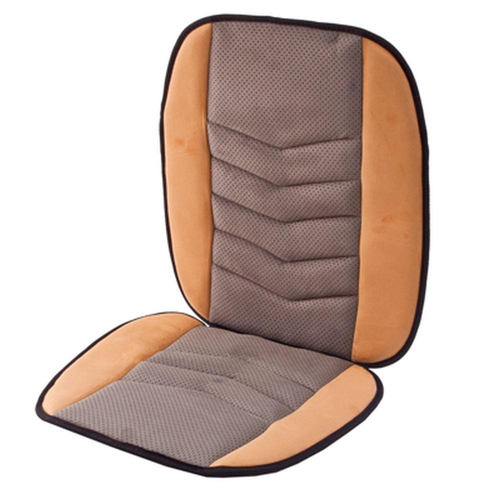 NEW GALAXY Чехол накидка на сиденье микрофибра 47x97см, бежево-серая, 5214019
