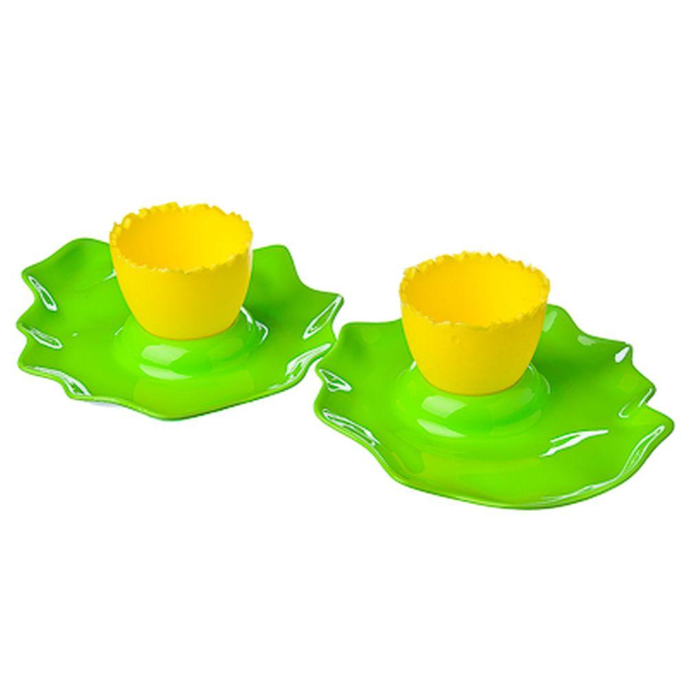 LUX Набор подставка для яйца + тарелка 2шт, пластик, 4 цвета, L-211