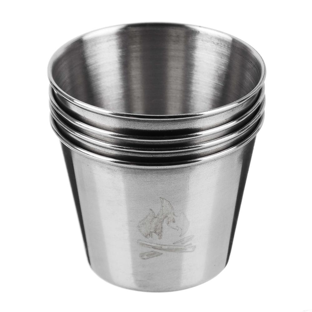 Набор стаканов ЧИНГИСХАН 4шт, металл, 50мл, в чехле