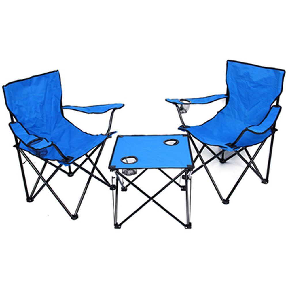Комплект мебели для кемпинга 3 пр (стол складной, кресла 2шт), сталь d13мм, oxford 600D, синий, 132D