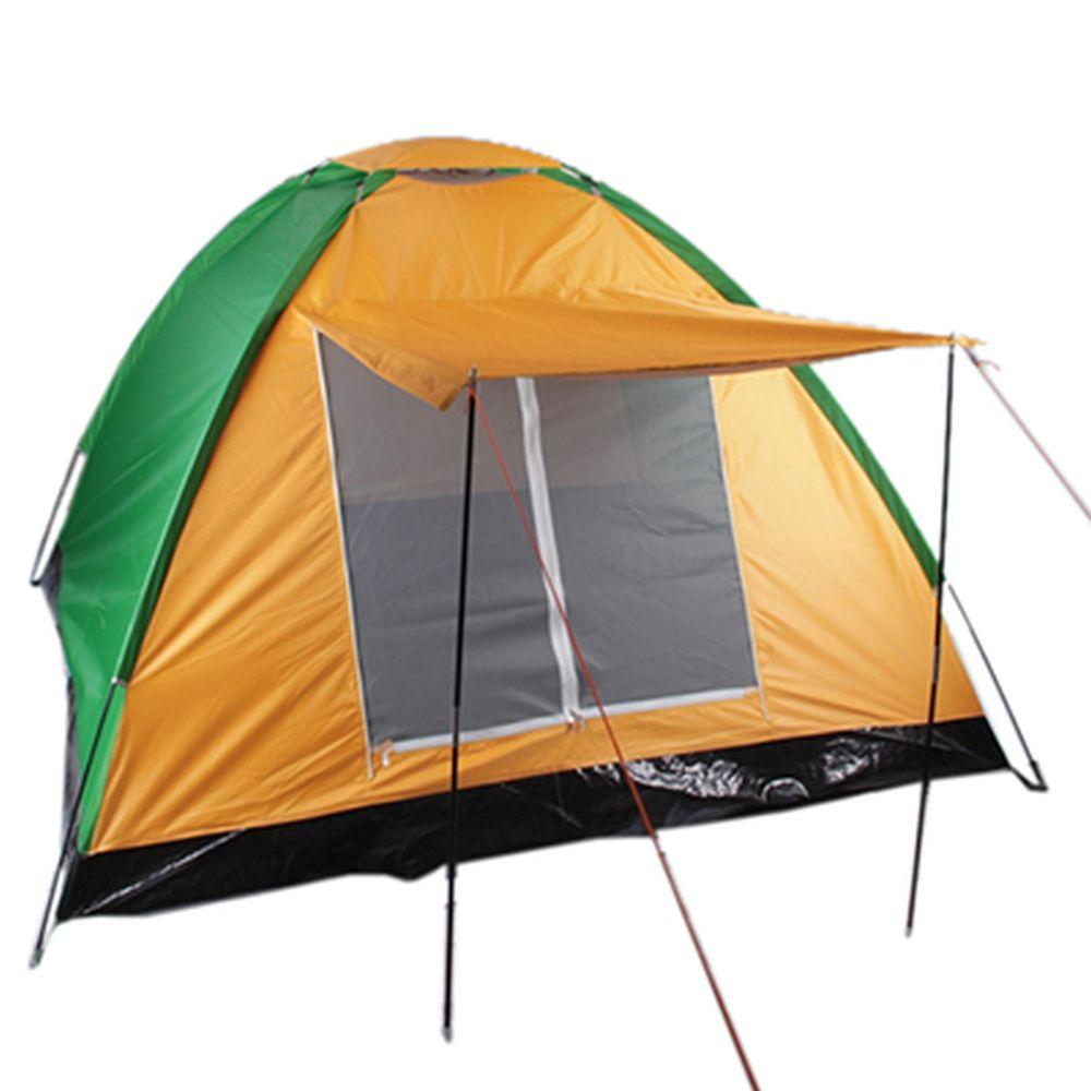 ЧИНГИСХАН Палатка 3-местная с козырьком, 200х200х135см, нейлон 170T, LS-012