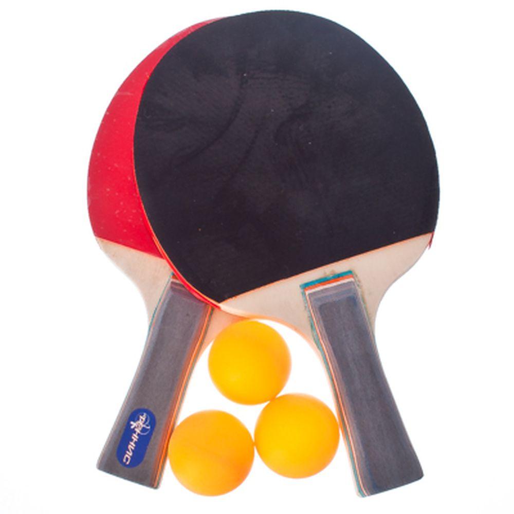 Набор для тенниса (ракетка 2шт, теннисный мяч 3шт), дерево, SA6205