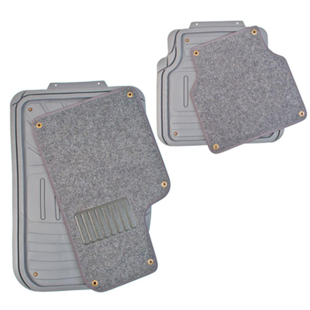 NEW GALAXY Набор ковров термопласт+ковролин на клипсах 4шт, универсальные, серые Desert