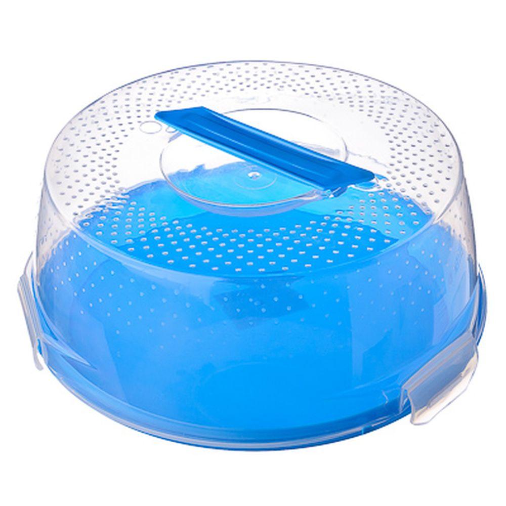 Бокс для хранения выпечки (поднос + крышка) 28х12 см, пластик, 4 цвета