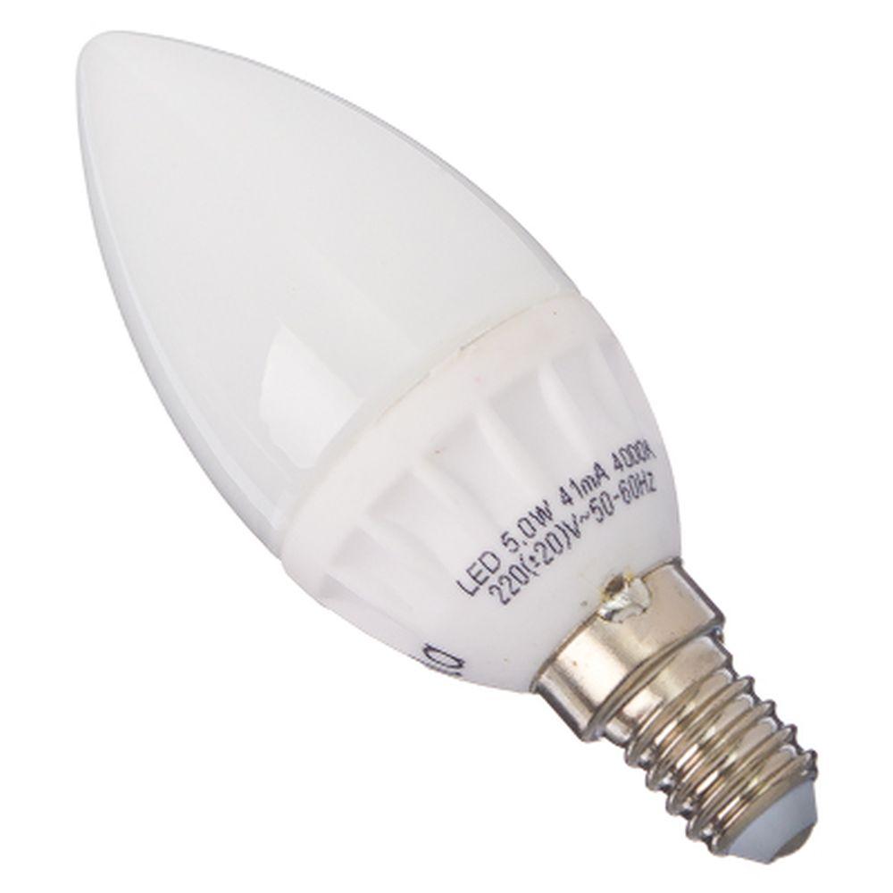 ECOLA Лампа светодиодная свеча E14 5W 4000 100x37, C4LV50ELC