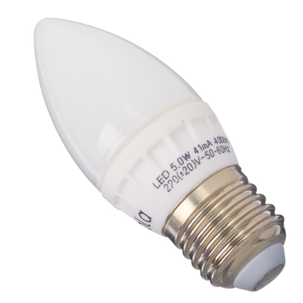 ECOLA Лампа светодиодная свеча E27 5W 4000 100x37, C7LV50ELC