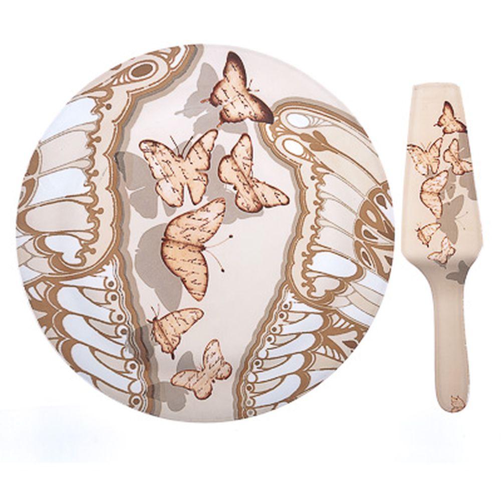 VETTA Полет бабочки Набор для торта 2 пр. 30см, стекло, S3000/2 PDQ