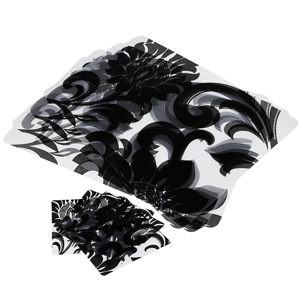 """Набор термосалфеток 8шт (4шт 42x28см + 4шт 9x9см), """"Барокко"""" черный принт, 4 дизайна"""