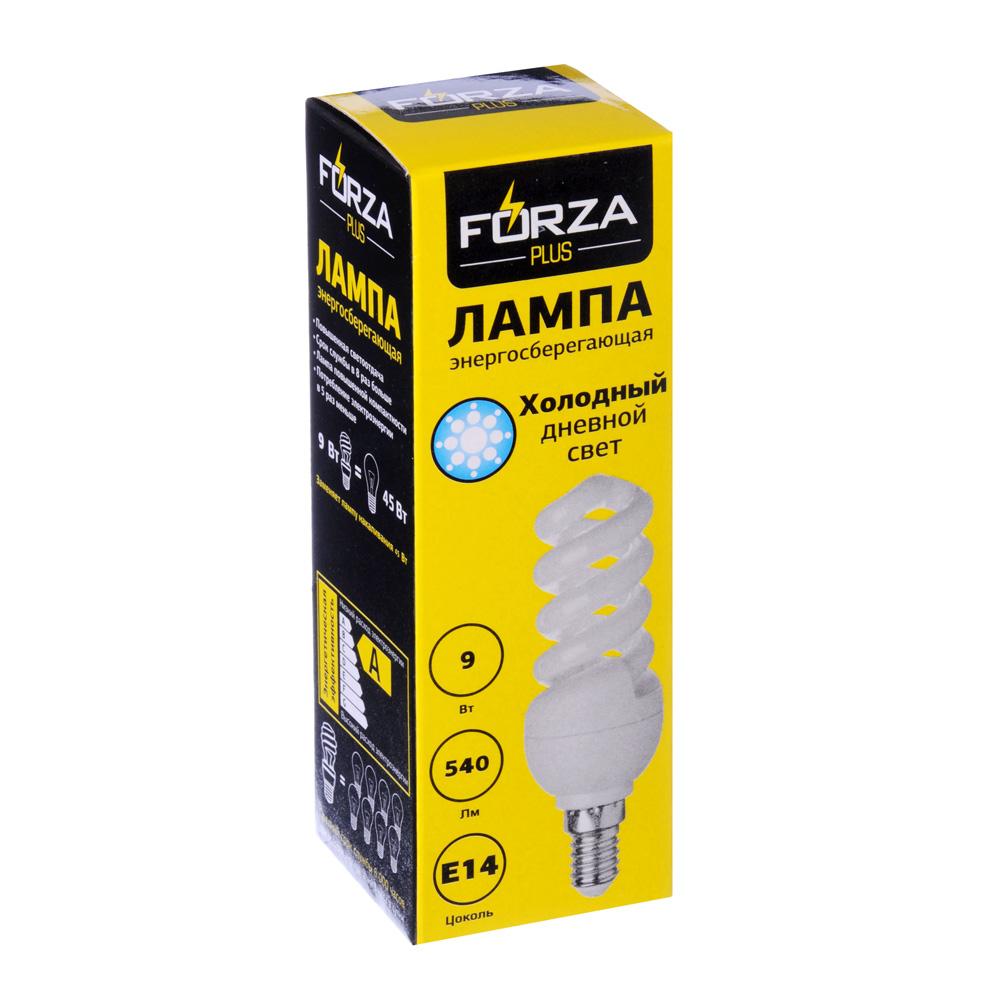 Лампа энергосберегающая FORZA E14, 9W, 4100K
