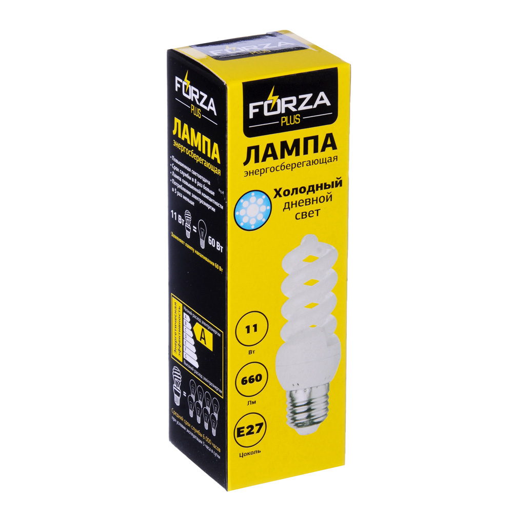 FORZA Лампа энергосберегающая E27 11W 4100K полн.спираль