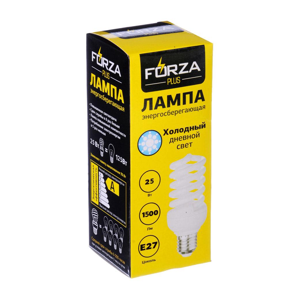 FORZA Лампа энергосберегающая E27 25W 4100K полн.спираль, трубка Т2