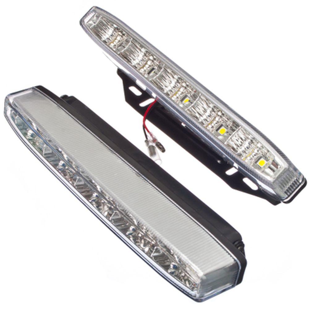 NEW GALAXY Дневные ходовые огни LED, белый свет, пласт корп, 5 ламп, 220х25мм, комп 2шт, Classic