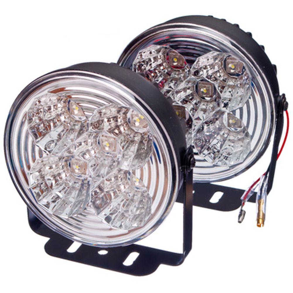 NEW GALAXY Дневные ходовые огни LED, белый свет, пласт корп, 5 ламп, d100мм, компл 2шт, Hunter