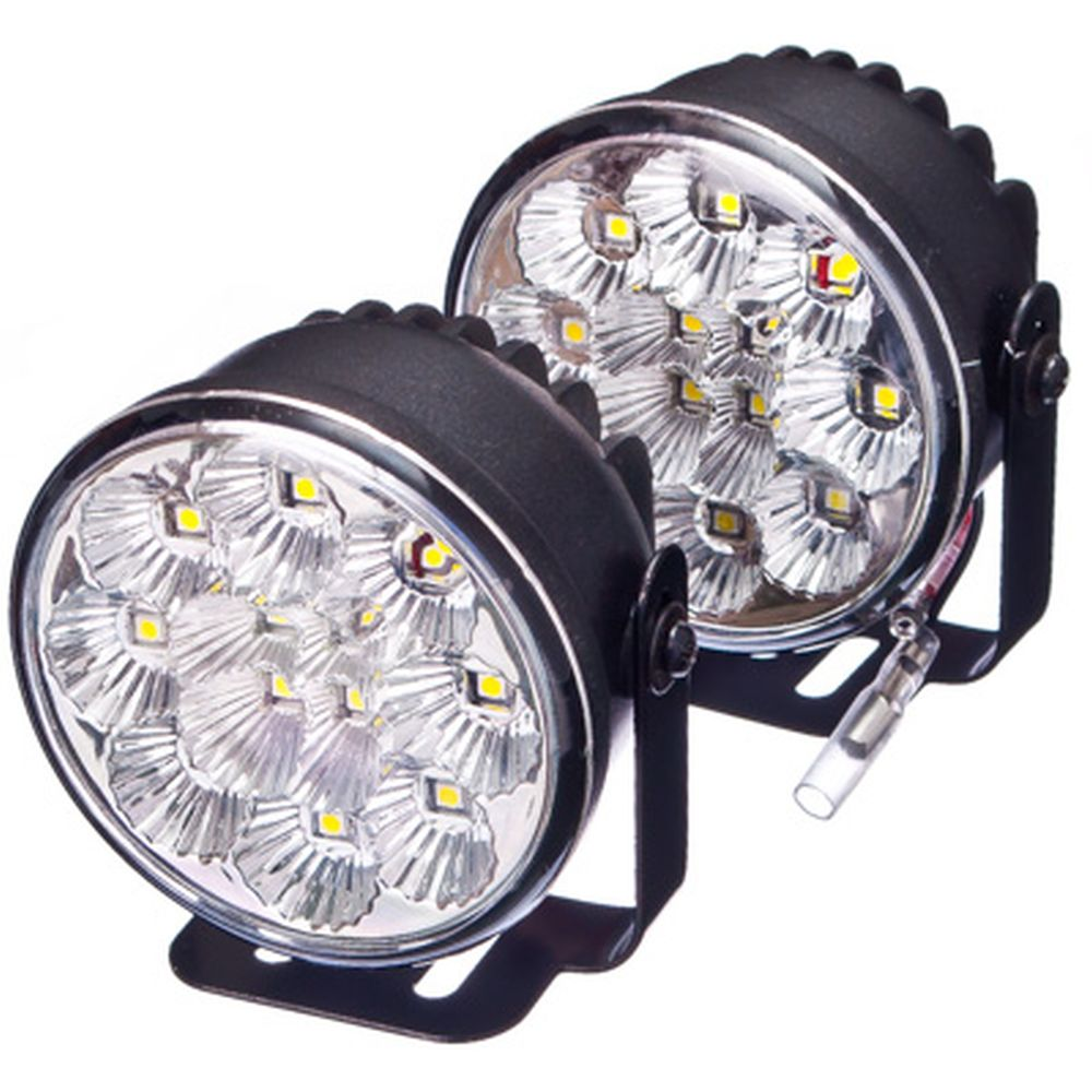 NEW GALAXY Дневные ходовые огни LED, белый свет, пласт корп, 12 ламп, d70мм, компл. 2шт, Hunter