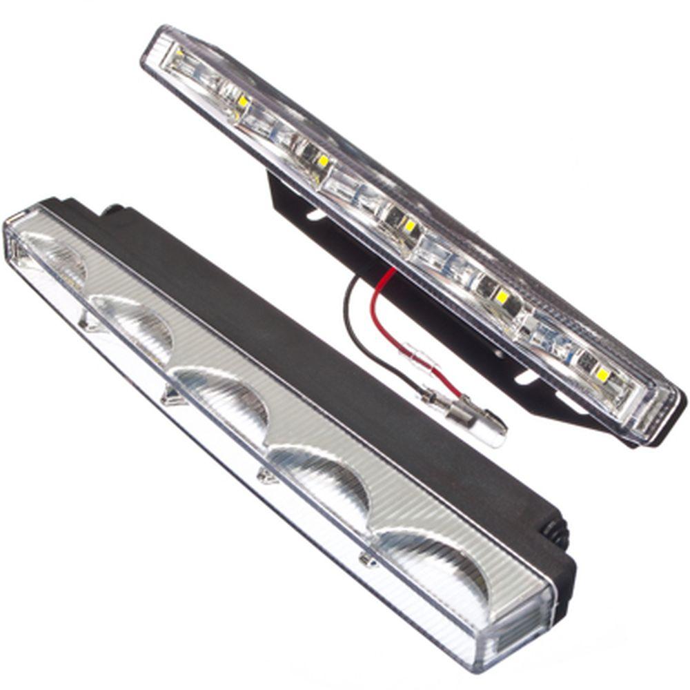 NEW GALAXY Дневные ходовые огни LED, белый свет, пласт корп, 5 ламп, 200х18мм, комп. 2шт, Classic