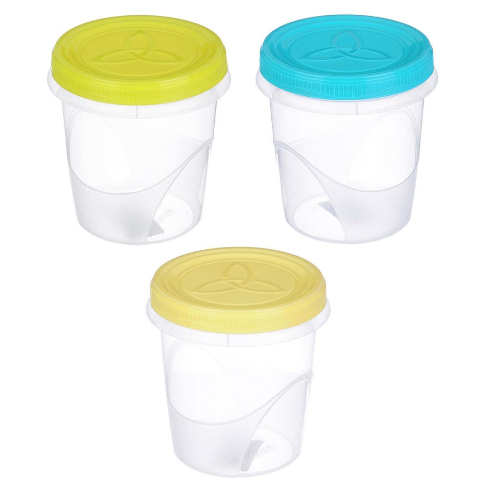 Банка для хранения продуктов пластиковая с завинчивающейся крышкой, 0,7л, 3 цвета