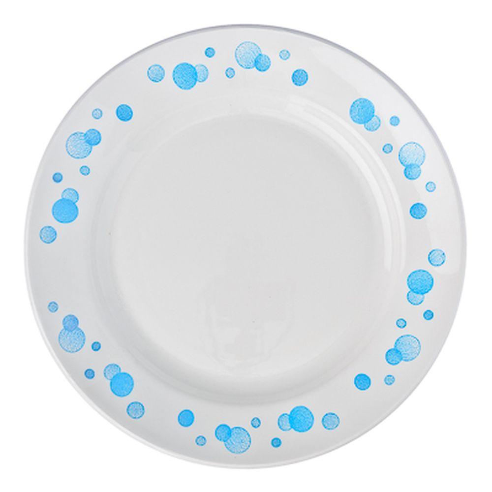 """Тарелка мелкая фаянсовая 20 см, """"Синий горох"""""""