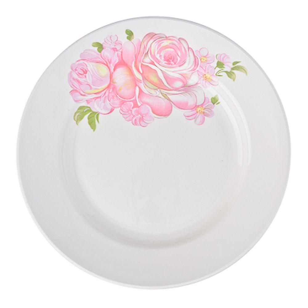 Розовые розы Тарелка мелкая 17,5см, фаянс, 057