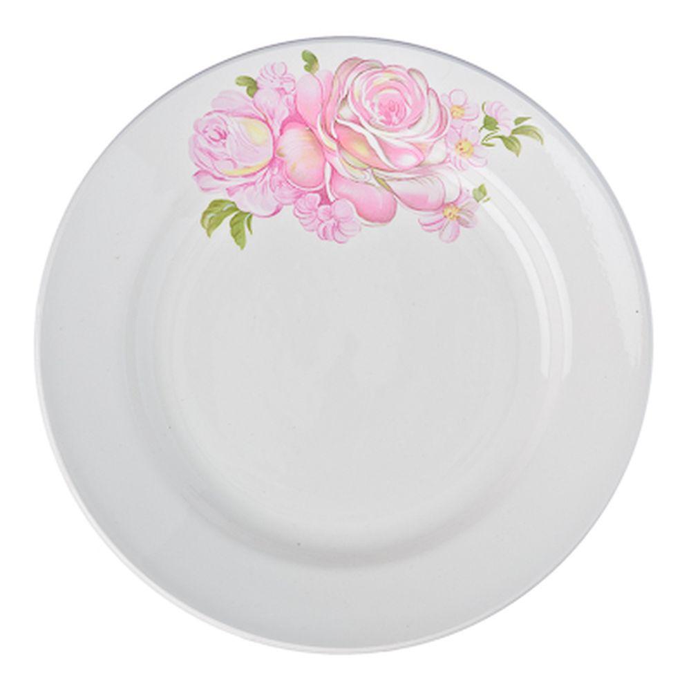 Розовые розы Тарелка мелкая 20см, фаянс, 056