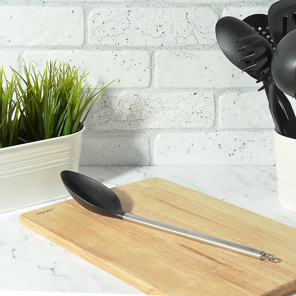 Ложка кухонная жаропрочный нейлон, ручка нержавеющая сталь, Аргенто VETTA