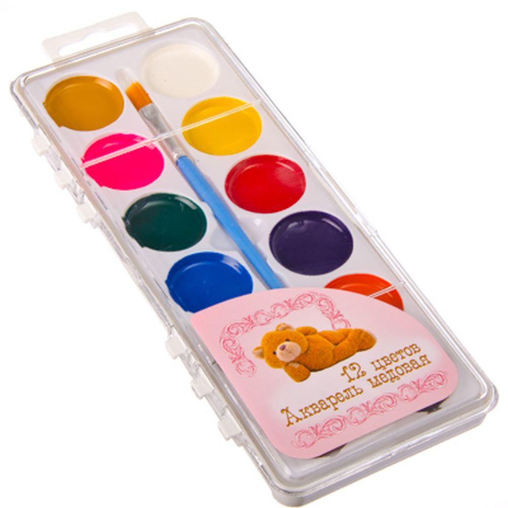 Плюшевый медведь Акварель медовая с кистью, 12 цветов