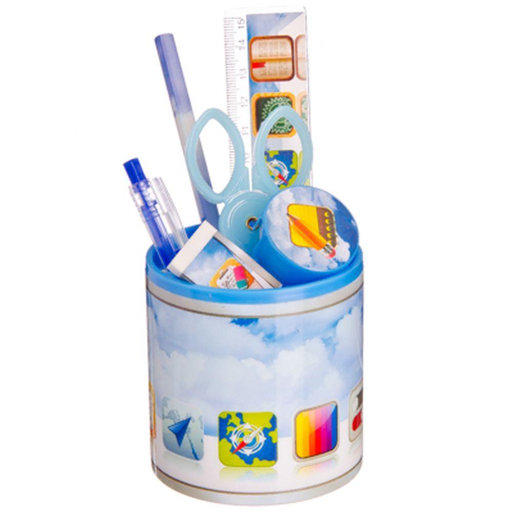 JPAD Набор канцелярский 7 пр. (линейка,карандаш,ручка,точилка,ластик,ножницы,стакан)
