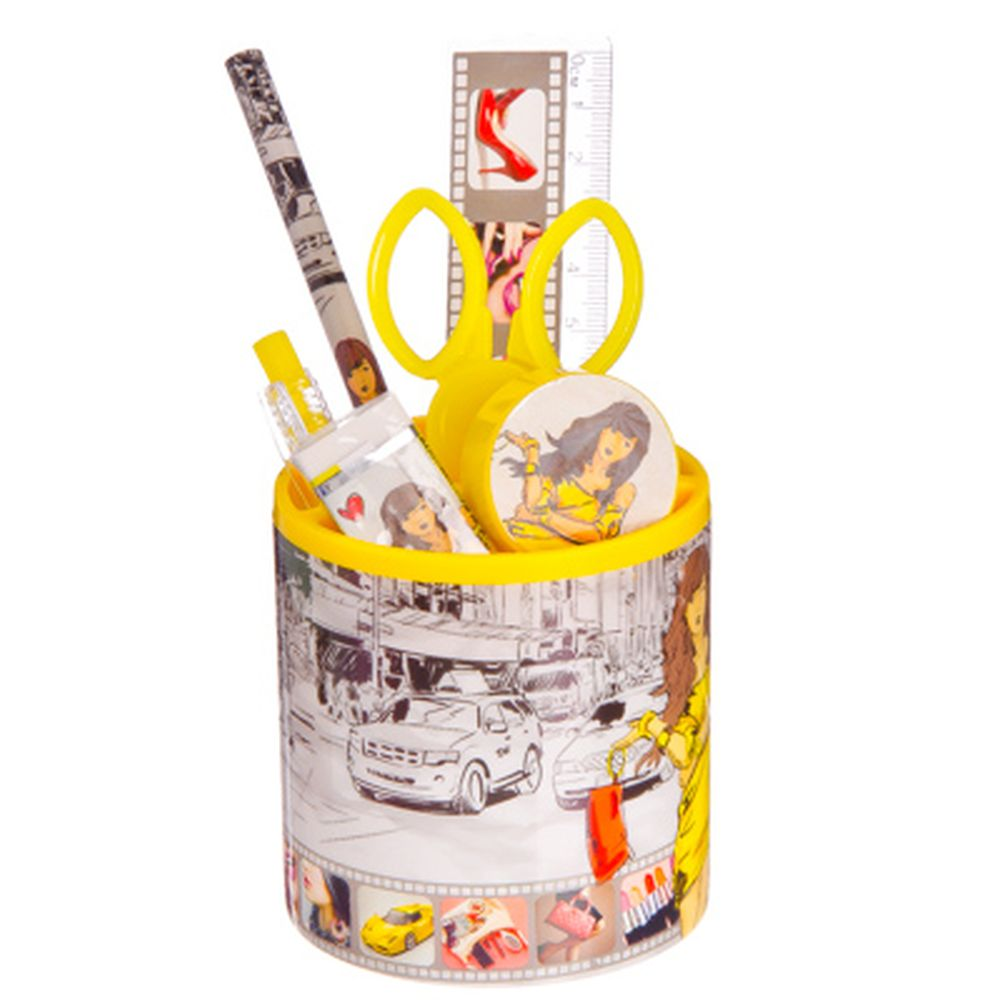 Модница Набор канцелярский 7 пр. (линейка,карандаш,ручка,точилка,ластик,ножницы,стакан)