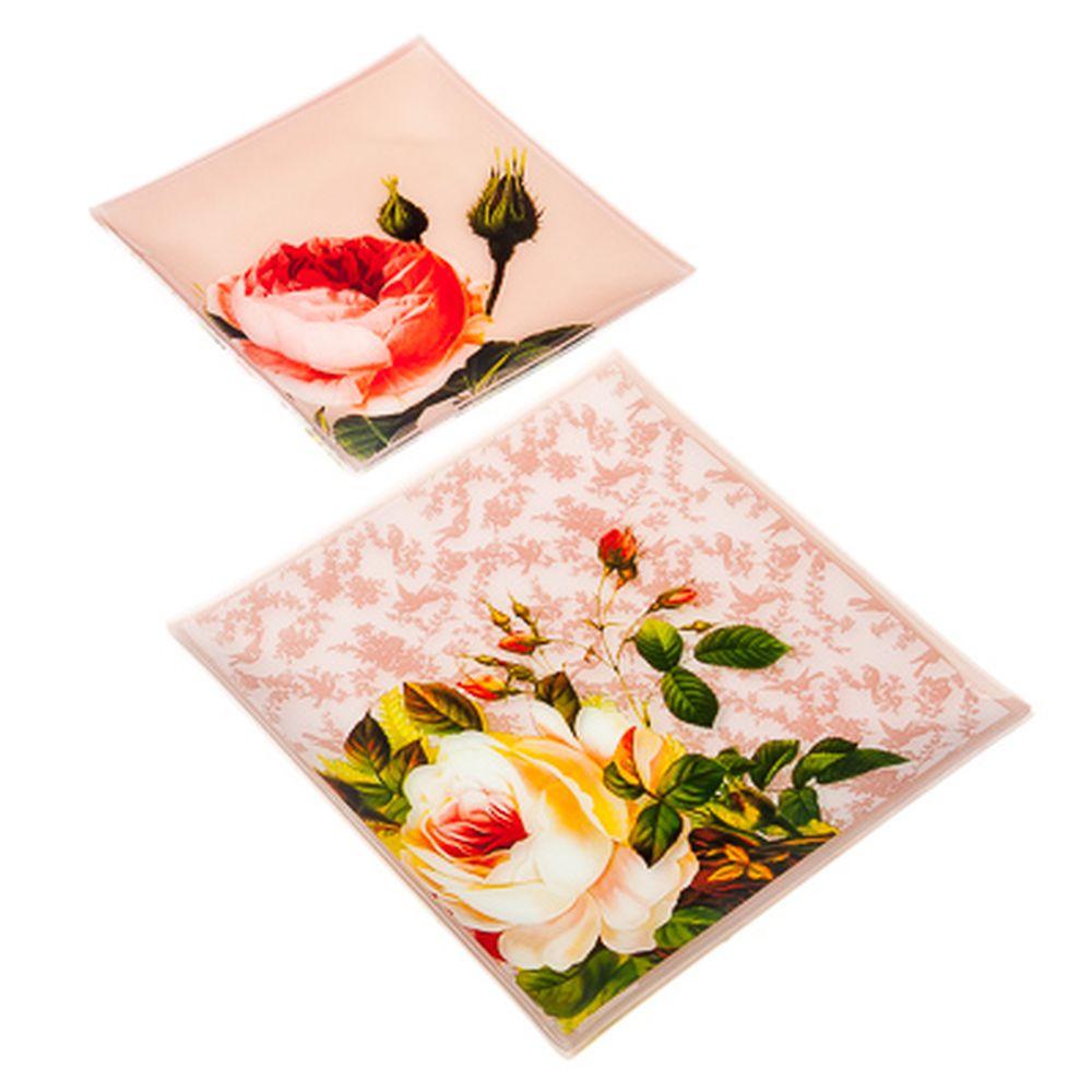 VETTA Нежные розы Набор блюд квадратных 4пр, 2шт 25,4см+2шт 20см, стекло, S311008/4 H221