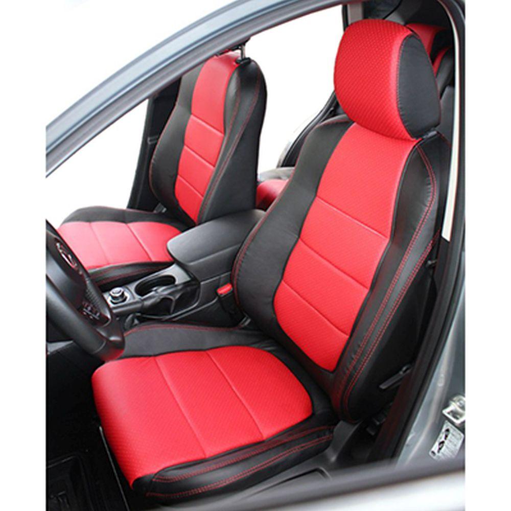 NEW GALAXY Чехлы автомобильные универ. 15 пр., экокожа с перфорацией, Airbag, Black&Red
