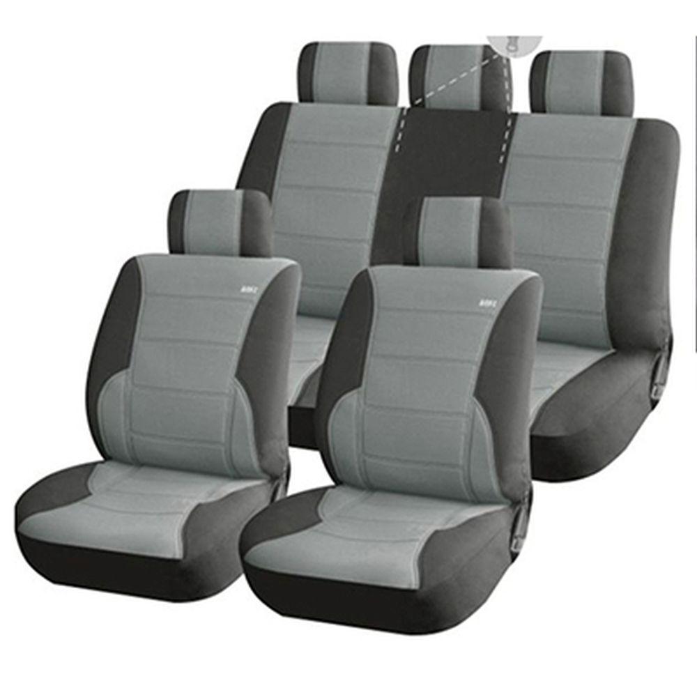 NEW GALAXY Чехлы автомобильные универ. 11 пр., экокожа и алькантара, Airbag, Light Gray Luxury