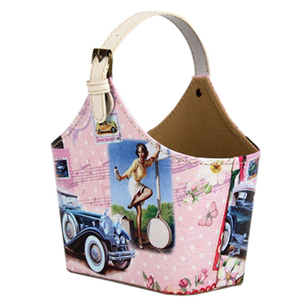 """Сумка-подставка для мелочей, ПВХ, искусств.кожа, 20х11х15см, """"Девушка и авто"""""""