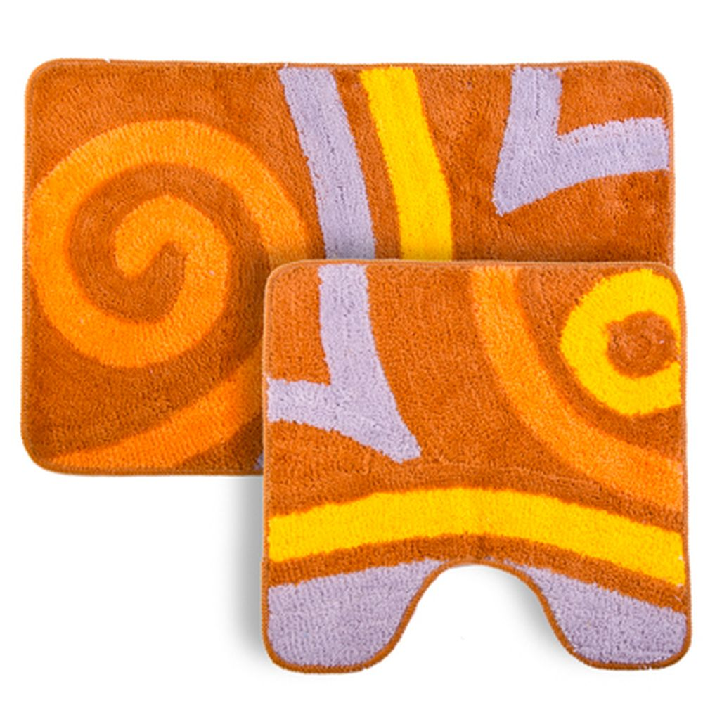 """VETTA Набор ковриков 2шт для ванной и туалета, акрил, 50x80см + 50x50см, """"Завиток"""" коричневый"""