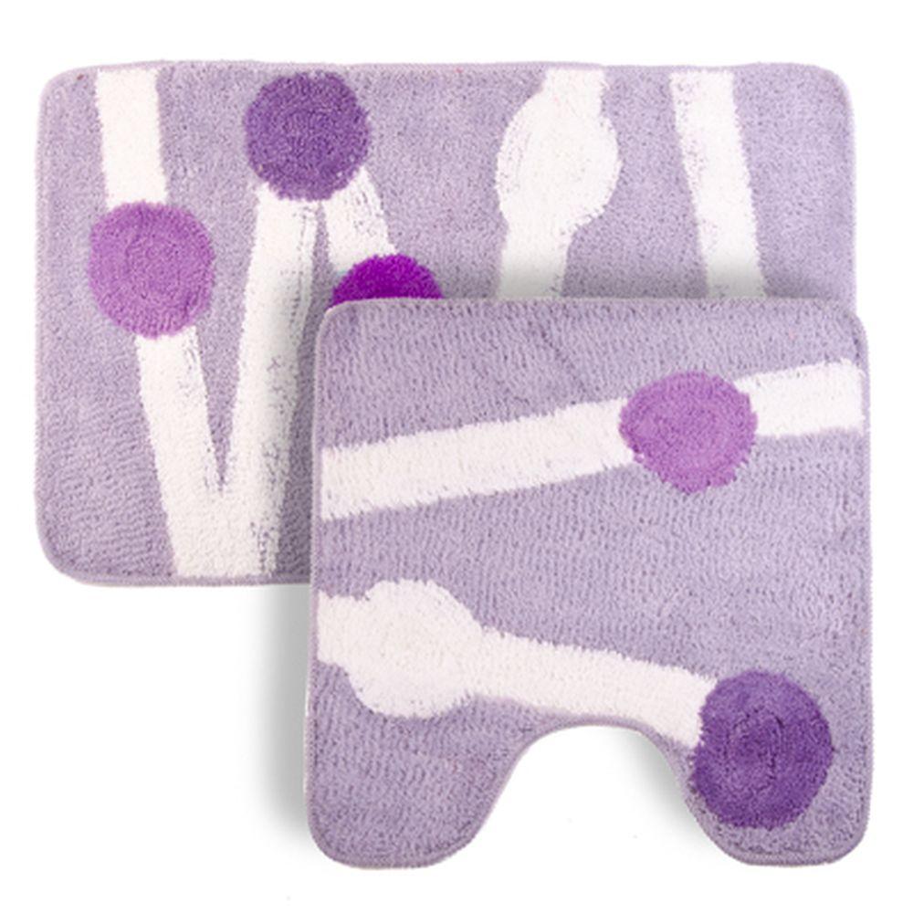 """VETTA Набор ковриков 2шт для ванной и туалета, акрил, 50x80см + 50x50см, """"Дорожка"""" лиловый Дизайн GC"""