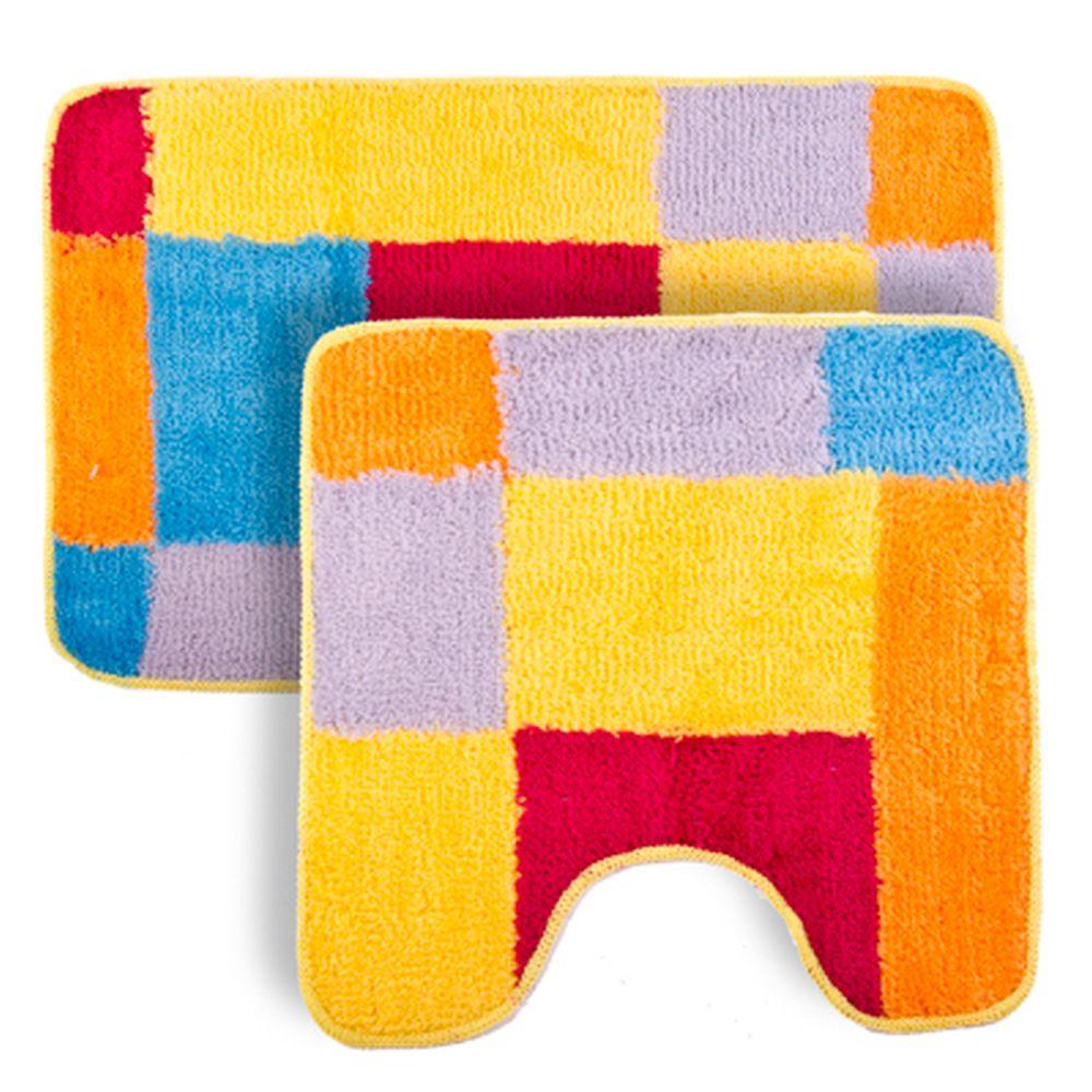 """VETTA Набор ковриков 2шт для ванной и туалета, акрил, 50x80см + 50x50см, """"Радуга"""" Дизайн GC"""
