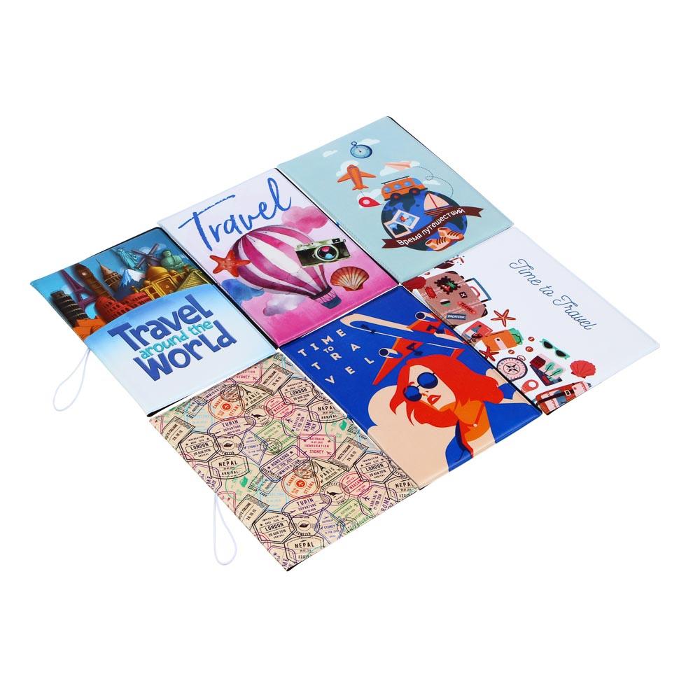 Обложка для паспорта с удерж.резинкой, с отд. для вод.удост, ПВХ, 13,7х9,6х0,4см,#2015-11, Дизайн GC