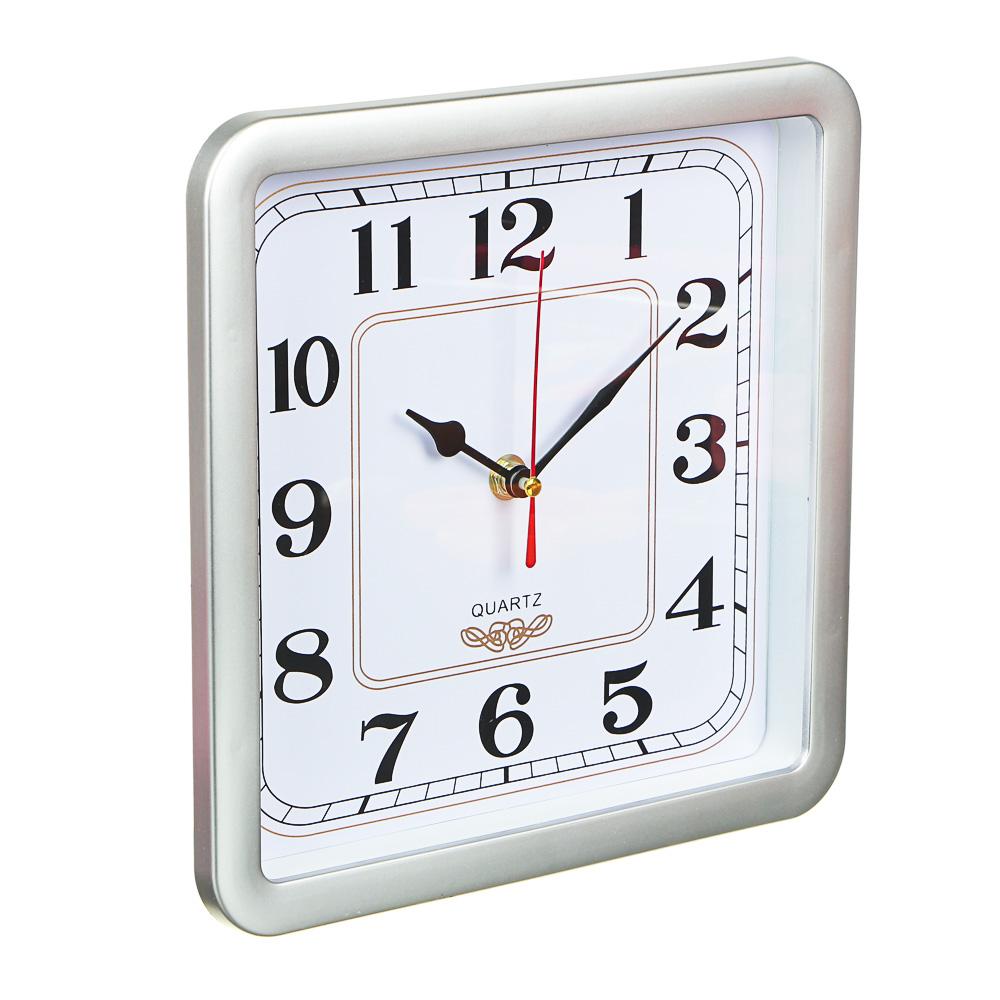 Часы настенные квадратные, пластик,23х23см, 4 цвета, 1xAA