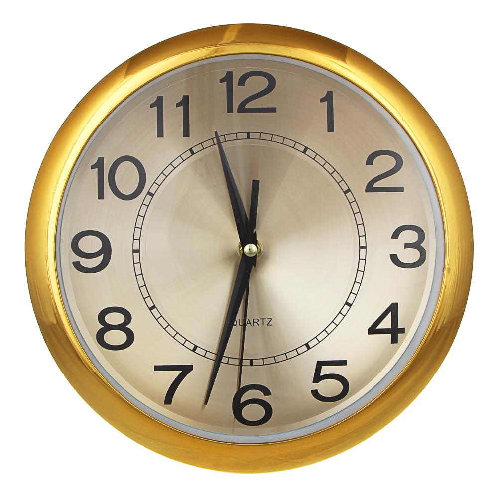 "Часы настенные, пластик, 26см, плавный ход, 1xAA, ""Хром"""