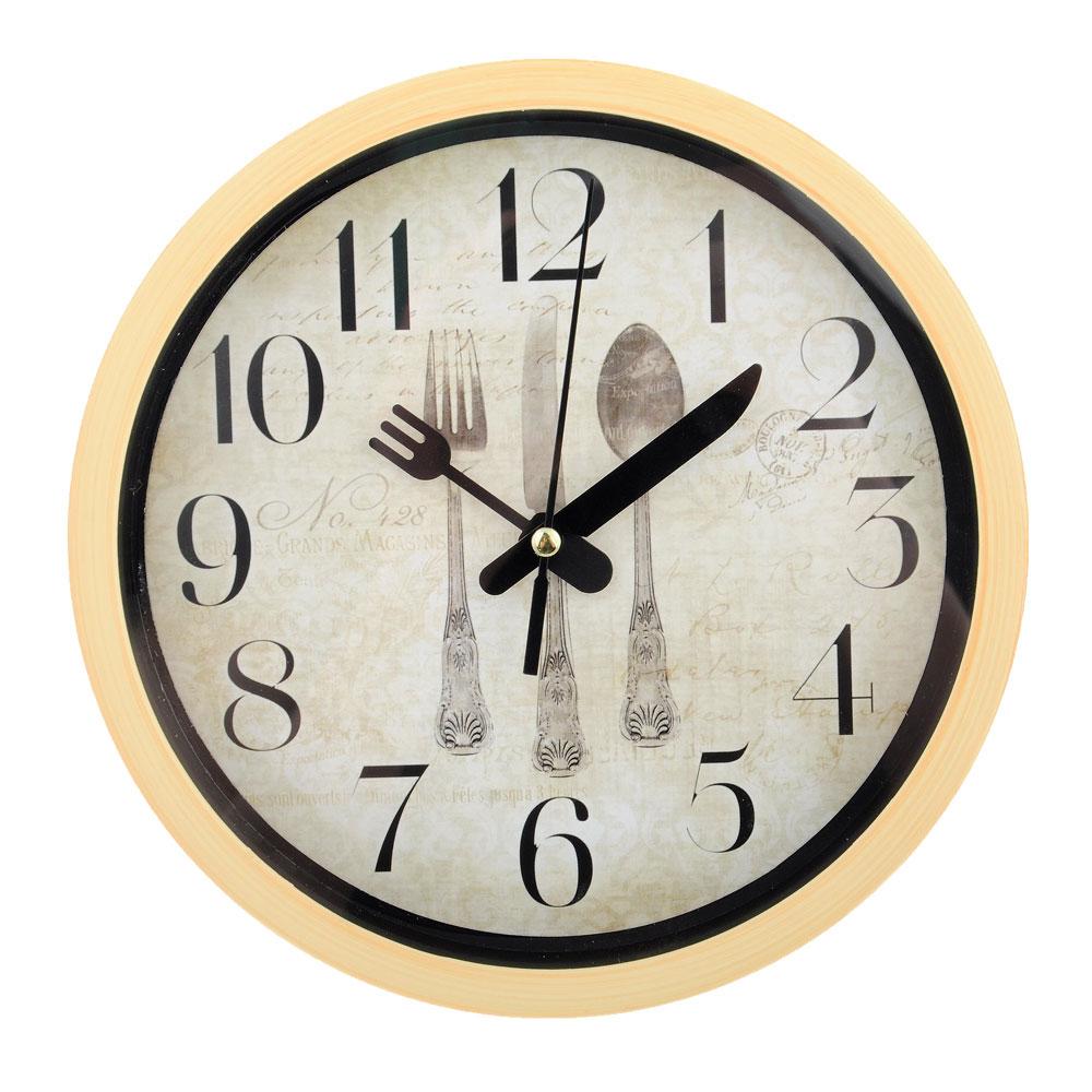 """Часы настенные, пластик, 20см, 2 вида, 1xAA, """"Столовые приборы"""""""