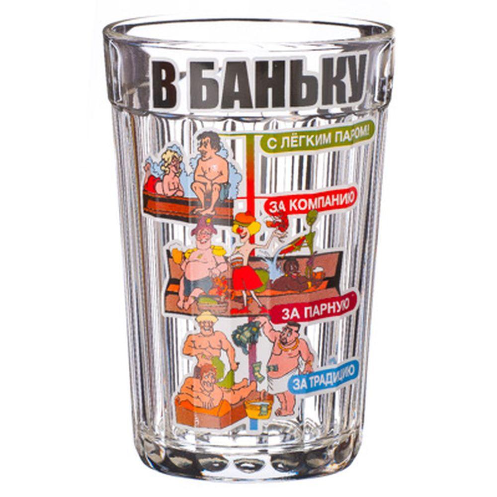 """Стакан граненый 250мл, """"В баньку!"""", стекло, в упаковке"""