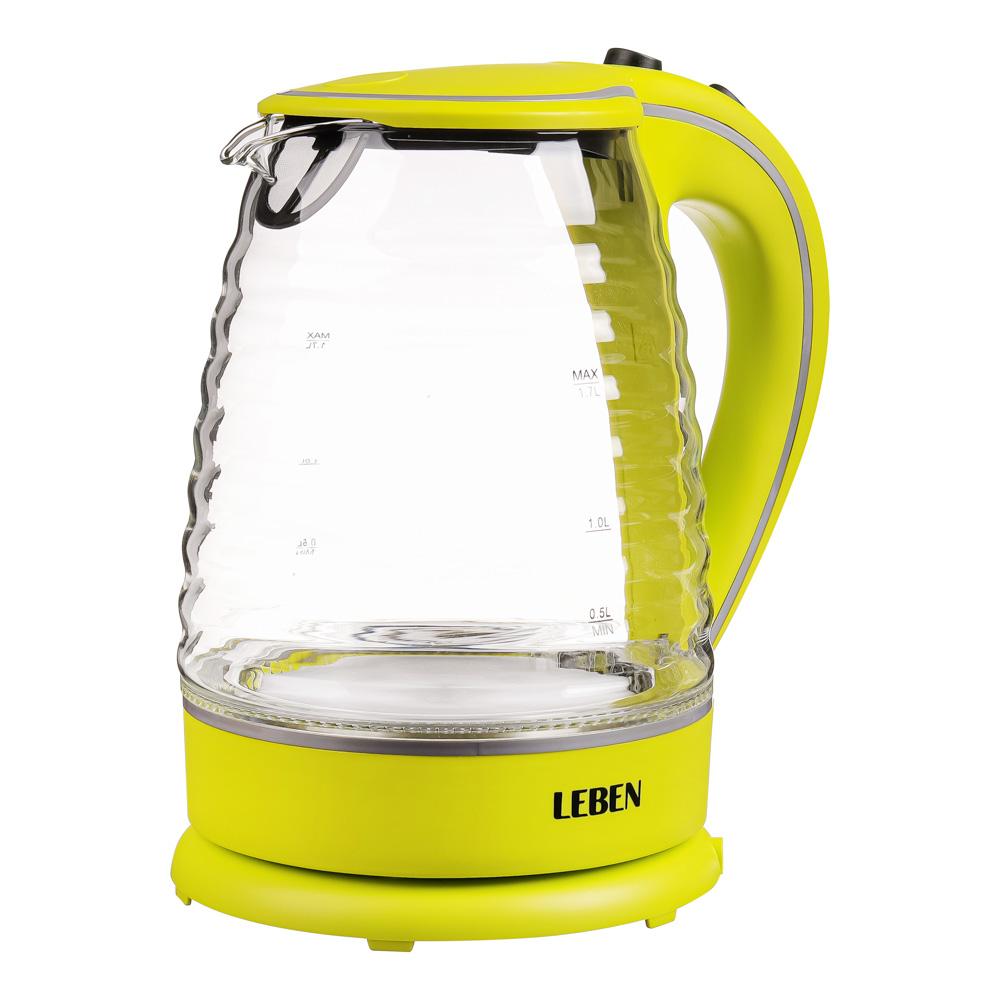 Чайник электрический 1,7 л LEBEN, 1850 Вт, рифлёное стекло/пластик, желтый