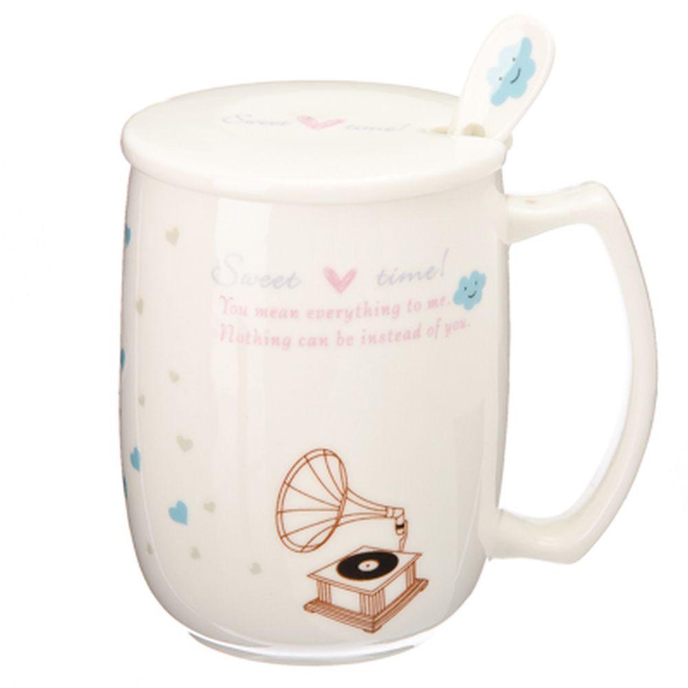 """Кружка сувенирная с крышкой и ложкой, 300мл, фарфор, """"Sweet time"""", 4 дизайна, подар.уп"""