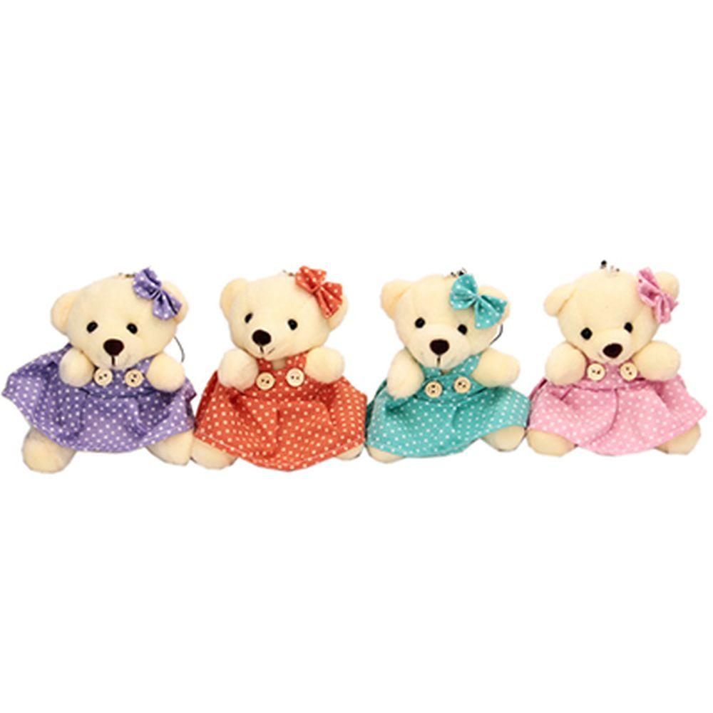 """Игрушка """"Медвежонок в платье"""", полиэстер, 10х8см, 4 цвета"""